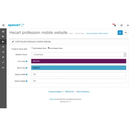 Profession mobile website store (VQMOD) For OpenCart V2